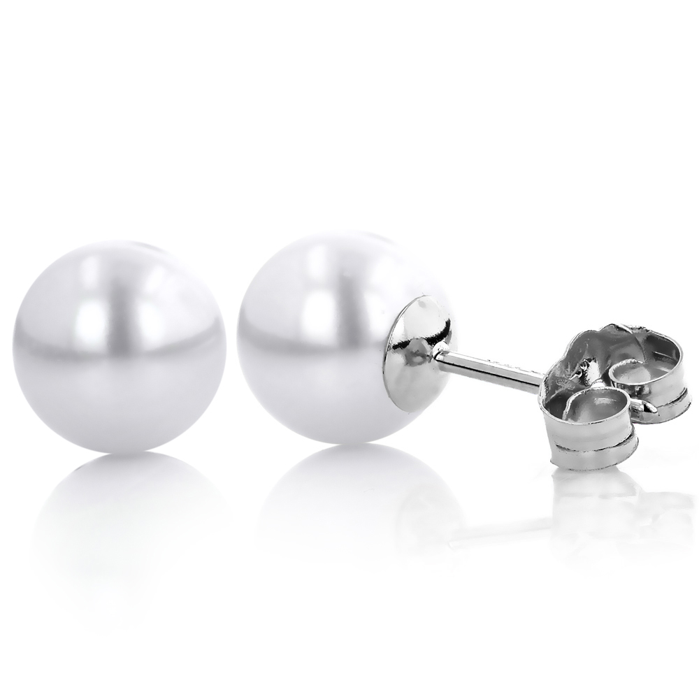 6-6.5mm 14K Gold White Fresh Water Pearl Stud Earrings White Image