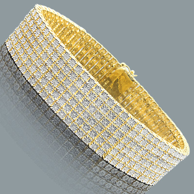 6 Row Mens Diamond Bracelet 1.35ct Gold Plated Sterling Silver Main Image