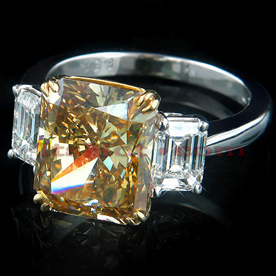 6.38ct Deep Brown Diamond Engagement Ring Radiant Cut Main Image