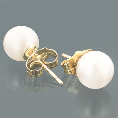 6.5-7mm 14K Gold Freshwater Pearl Studs in White Main Image