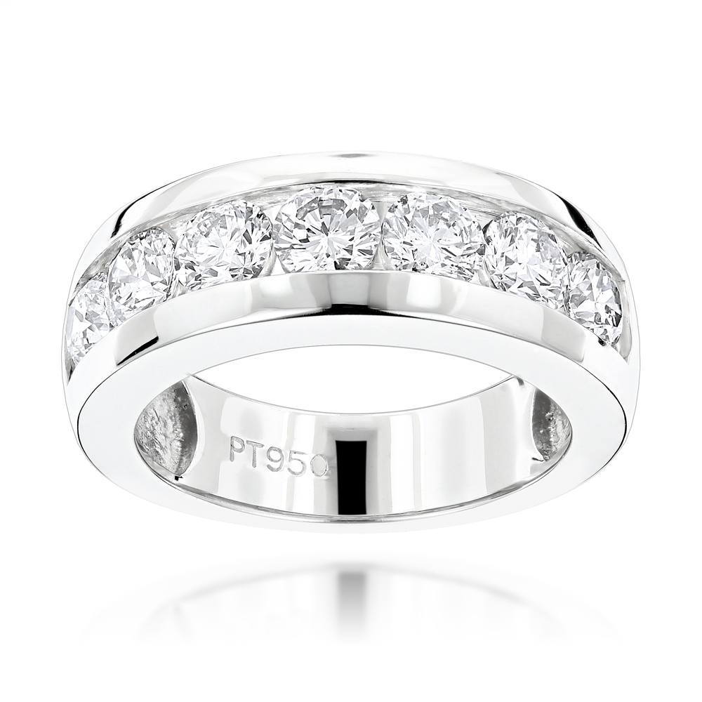 100 Stone Round Diamond Bands: Platinum Diamond Wedding Ring for Men 10.10ct