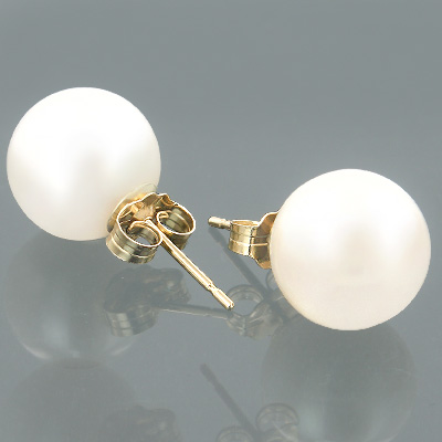 9-9.5mm 14K Gold White Fresh Water Pearl Earrings Main Image