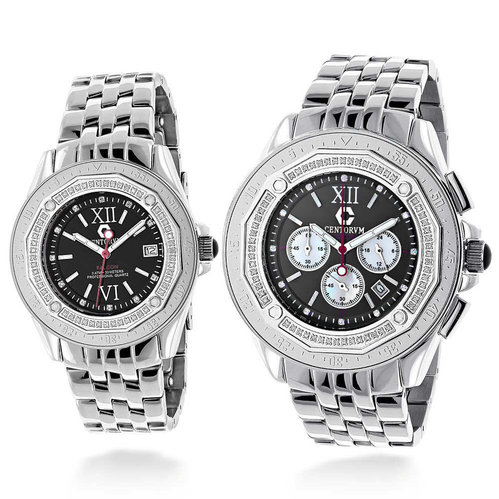 Matching His and Hers Watches: Centorum Falcon Diamond Watch Set 1.05ct