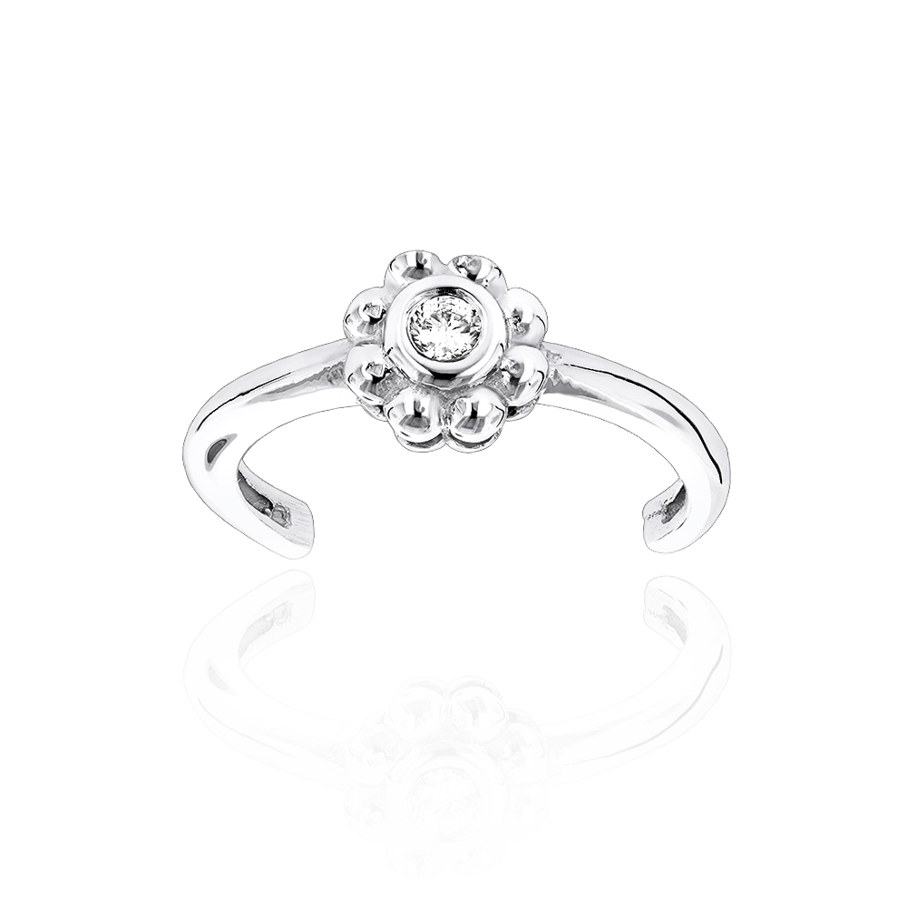 Adjustable 14K Gold Diamond Toe Ring Flower 0.06ct White Image