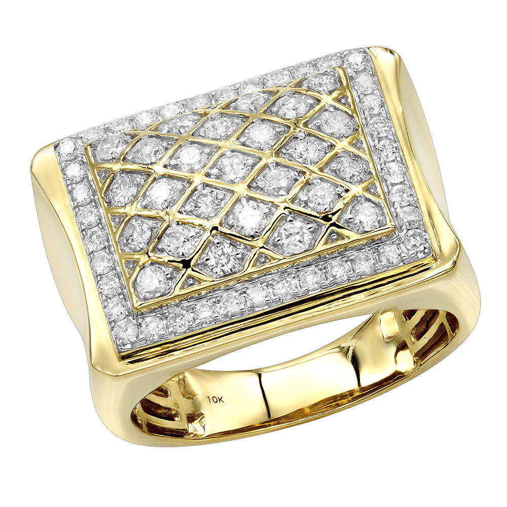 Affordable 10K Gold Diamond Ring for Men 1.35ct by Luxurman Pinky ring