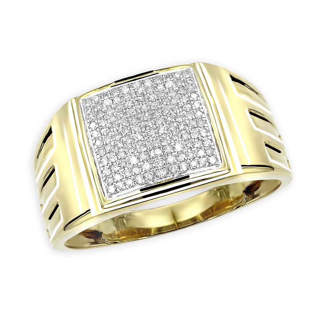 Affordable 10k Gold Mens Diamond Ring 0.25ct 12mm Wide Wedding Band Yellow Image