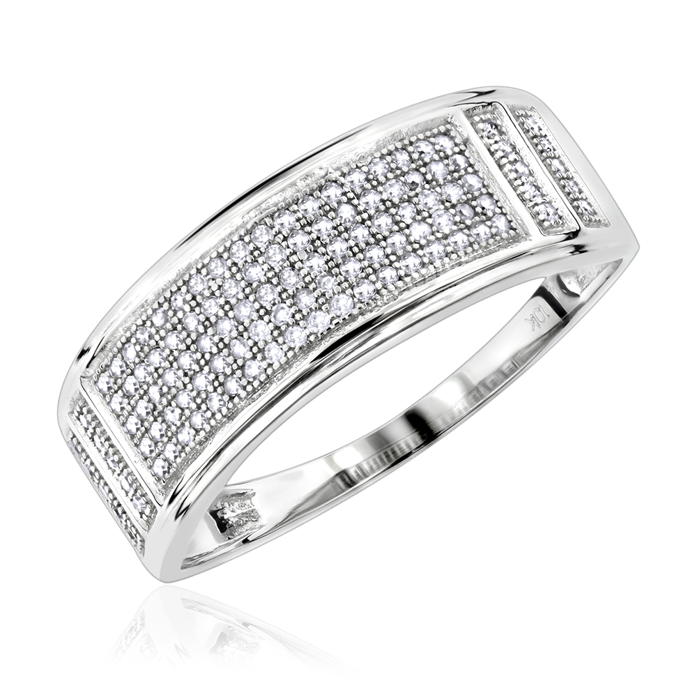 Affordable 10K Gold Mens Diamond Wedding Band 0.42ct White Image