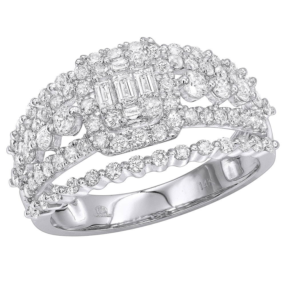 Affordable 14K Gold Baguette Round Diamond Engagement ring by Luxurman 1.1c White Image