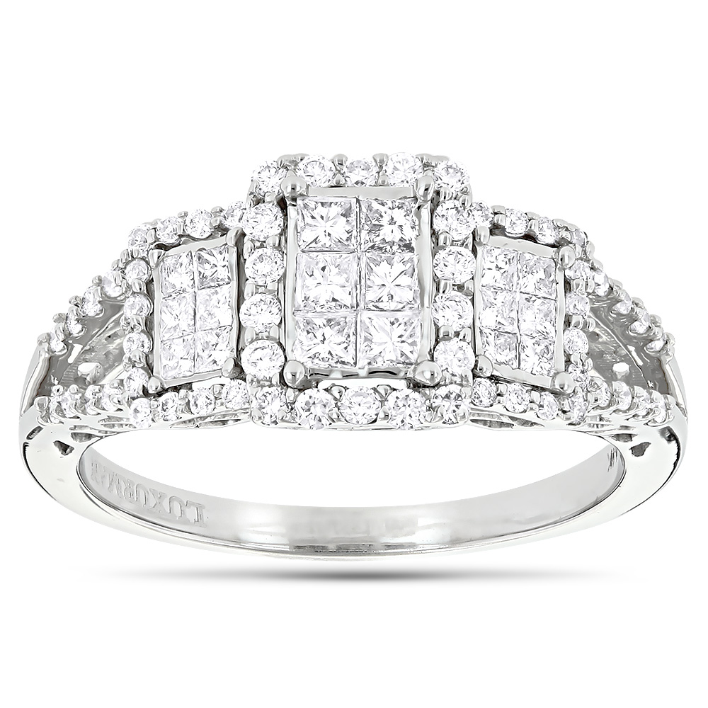 Affordable 14K Gold Round and Princess Cut Diamond Engagement Ring 1ct White Image