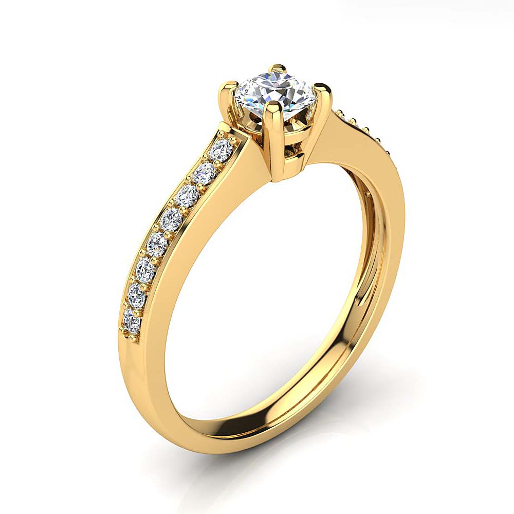 Affordable 14K Gold Round Diamond Engagement Ring 0.5ct Yellow Image
