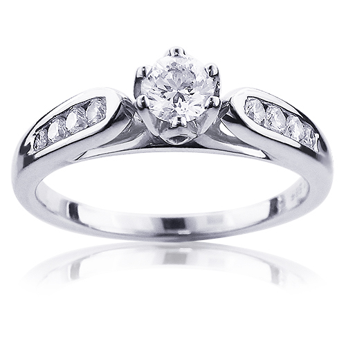 Affordable 14K Gold Women's Round Diamond Engagement Ring 0.4ct Main Image
