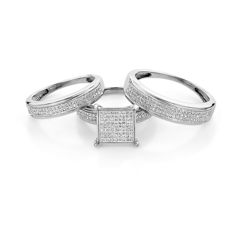 Affordable Bridal Trio Ring Sets: Diamond Engagement Set Sterling Silver Main Image
