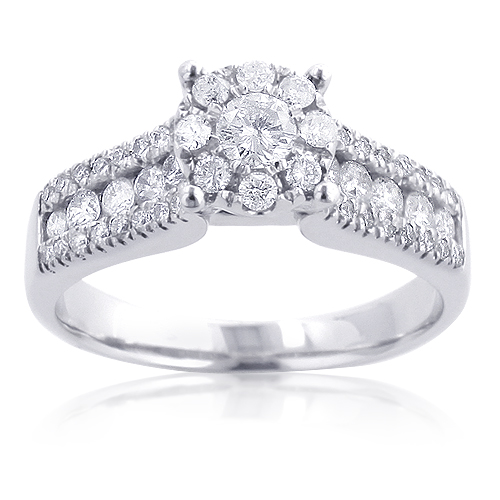 Affordable Cluster Diamond Engagement Ring 1.1ct 14K Gold