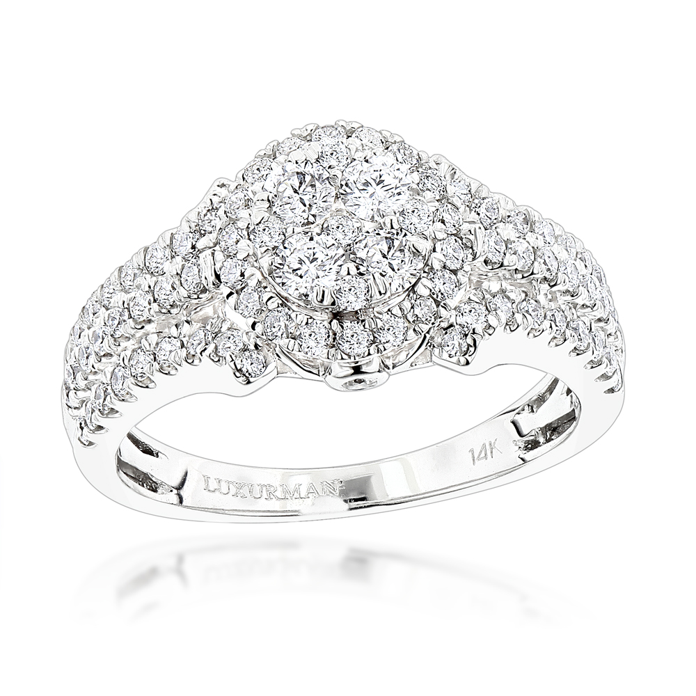 Affordable Cluster Diamond Engagement Ring 1.1ct in 14K Gold by Luxurman White Image