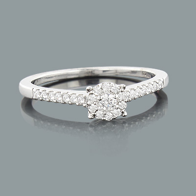 affordable diamond engagement ring 023ct 10k cluster rings - Affordable Wedding Rings Sets