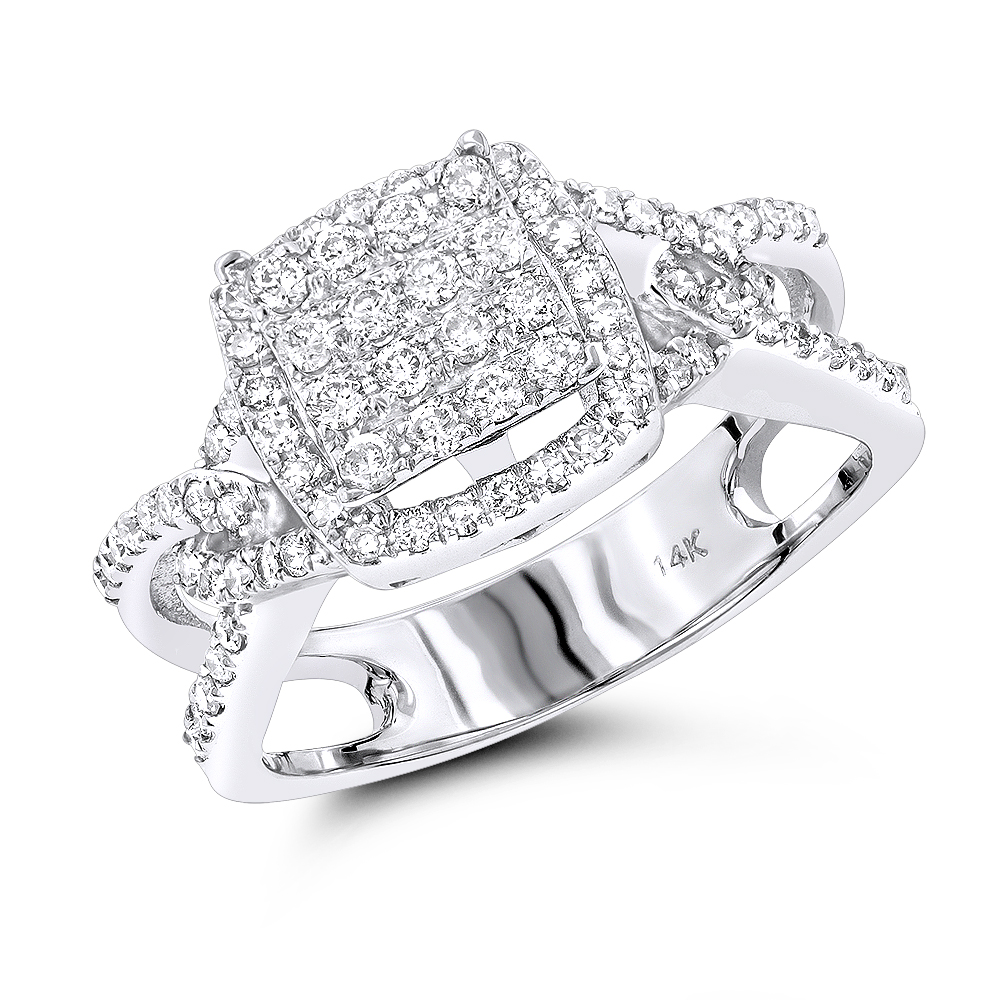 Affordable Diamond Engagement Ring 14K 0.75ct White Image