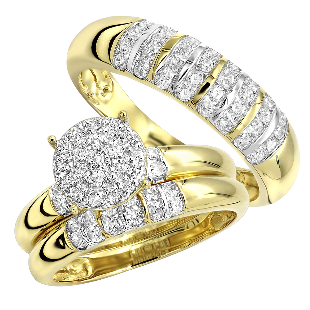 Affordable Diamond Engagement Ring and Wedding Band Set His Hers 10k Gold Yellow Image