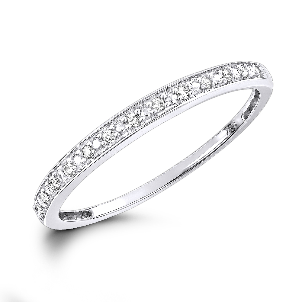 Affordable Diamond Wedding Bands For Women: Stackable Diamond Ring 10k Gold White Image