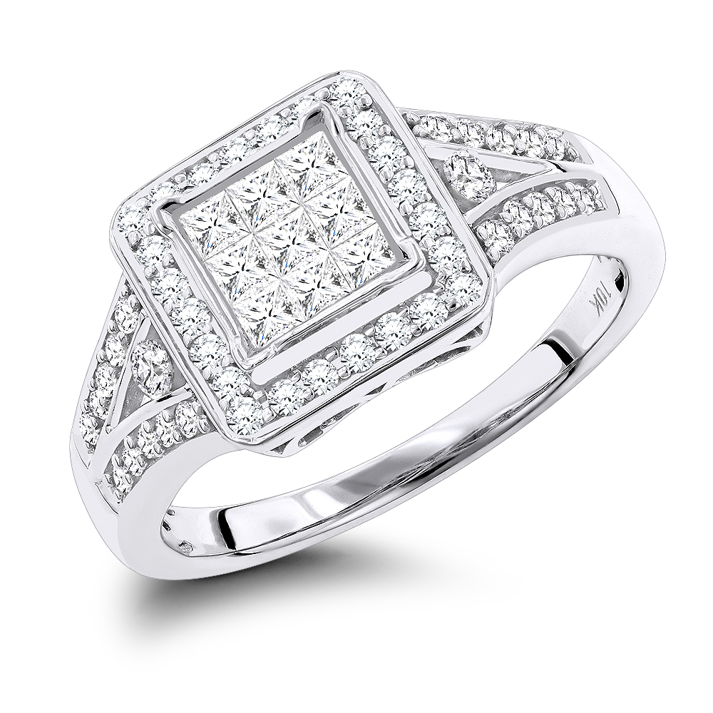 Affordable Engagement Rings: 10k Gold Round and Princess Cut Diamonds Ring