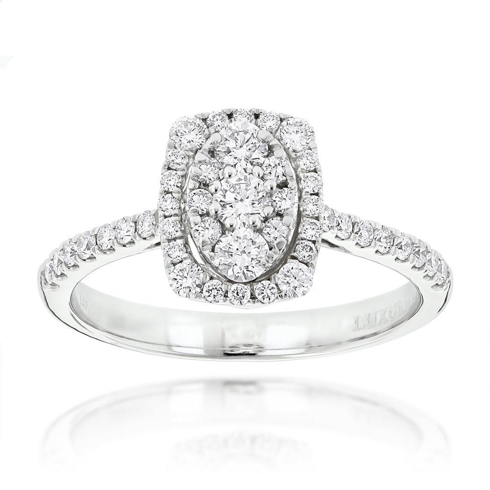 Affordable Engagement Rings Oval Halo Design Round Diamonds 14K Gold 0.9ct White Image