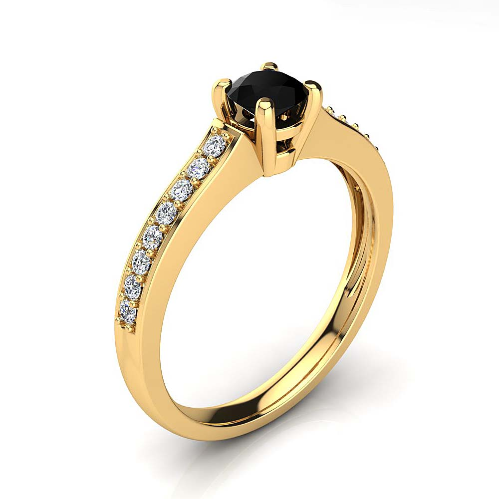 Affordable Half Carat White & Black Diamond Engagement Ring in 14k Gold Yellow Image