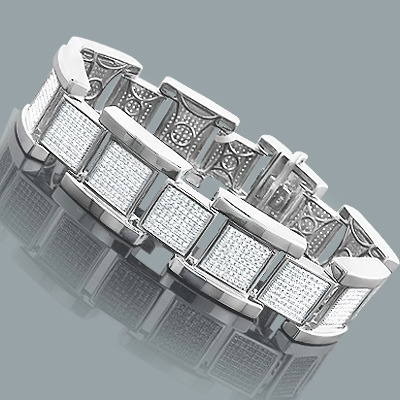 Affordable Hip Hop Jewelry: Silver Mens Diamond Bracelet 2.8ct Main Image