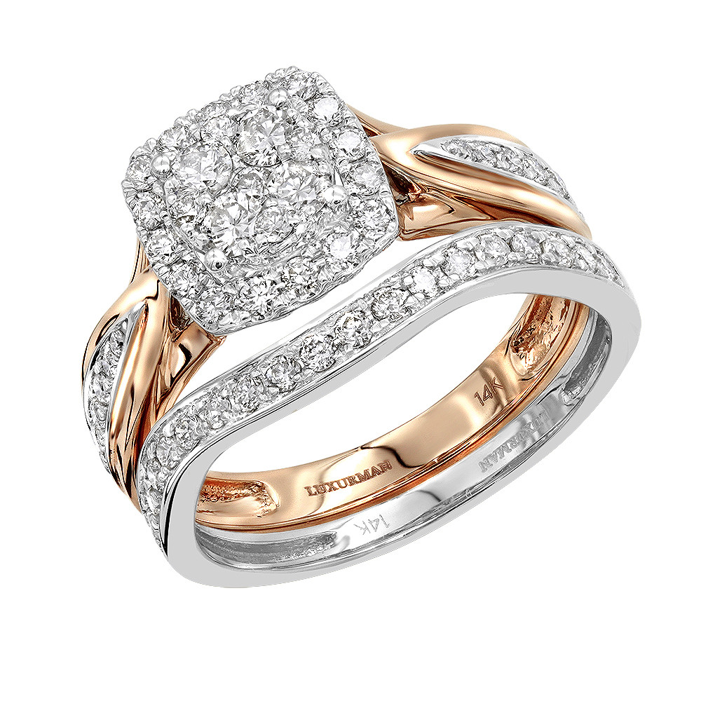 Affordable Luxurman 1 Carat Diamond Engagement Ring Set Two Tone 14k Gold