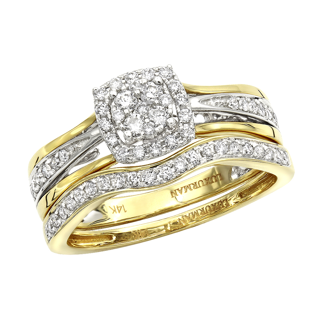 Affordable Luxurman Diamond Engagement Ring Set Wedding Band 14k Gold 0.4ct Yellow Image