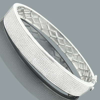 Affordable Mens Diamond Bracelet Bangle 1.76ct Sterling Silver Main Image