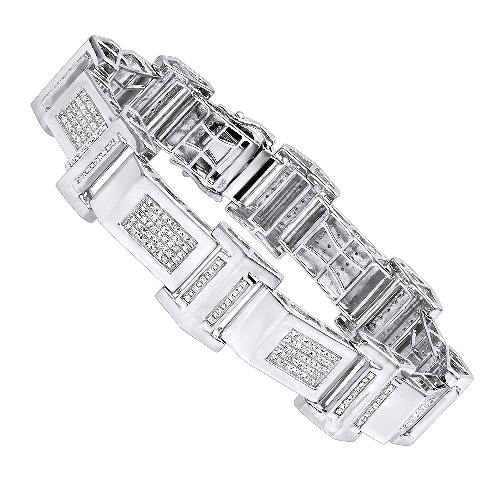 Affordable Mens Diamond Bracelet in Sterling Silver 0.5ct main