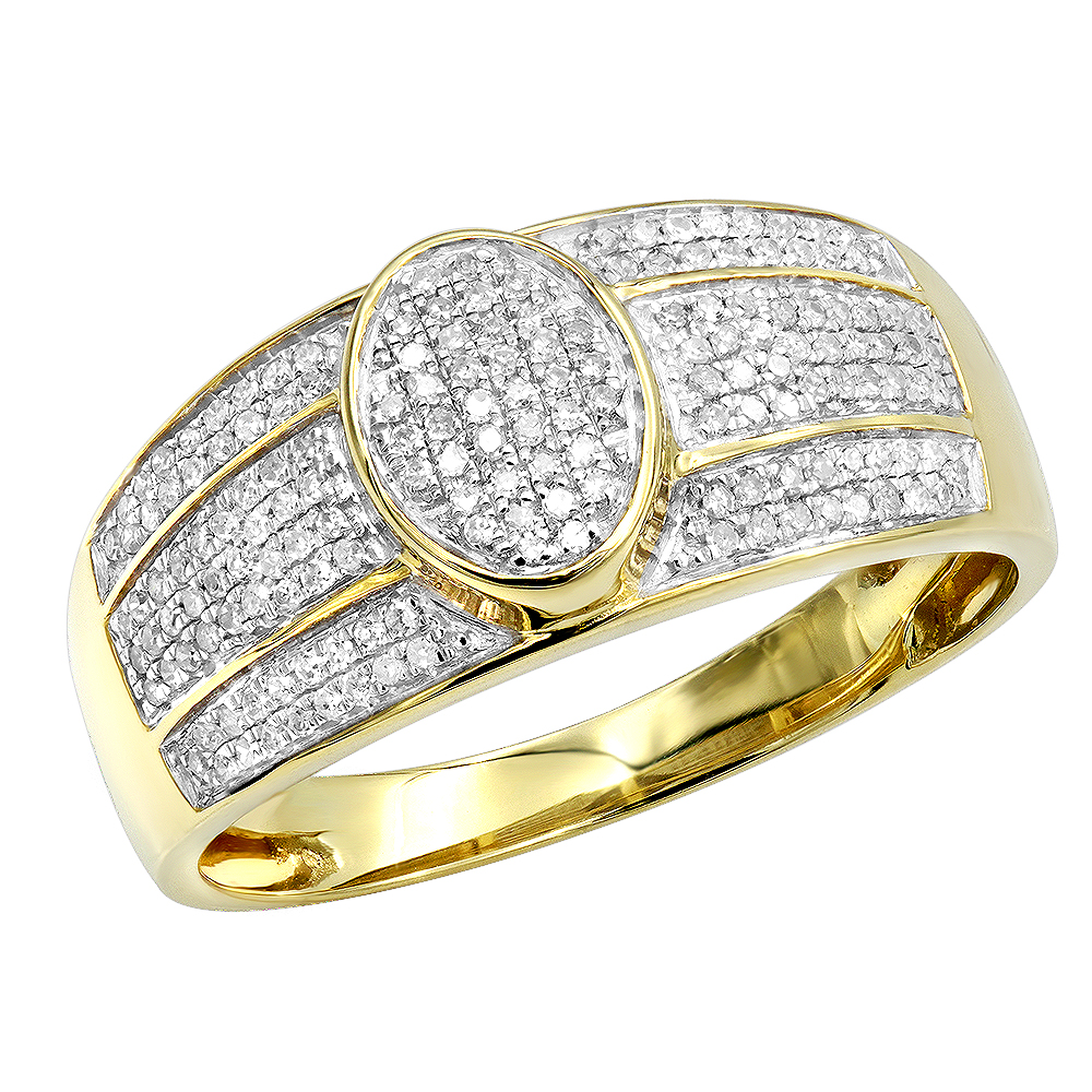 Affordable Mens Diamond Ring 10k Gold Pave Diamonds Band 0.33ct Yellow Image