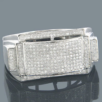 Affordable Mens Rings 10K Gold Diamond Ring 0.52ct