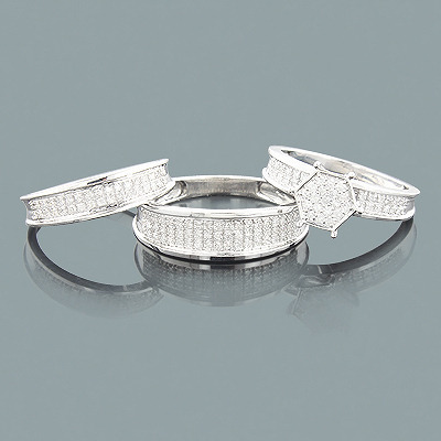 Affordable Trio Diamond Ring Set 0.62ct 10K Main Image