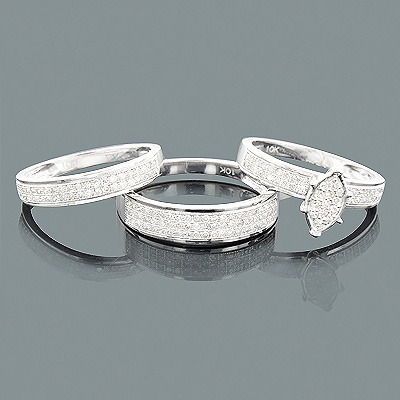 Affordable Trio Diamond Ring Set 0.73ct 10K Gold Main Image