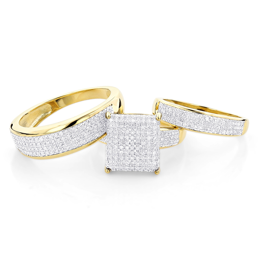 Affordable Trio Ring Sets Diamond Wedding Ring Set 1 25ct 10k Gold