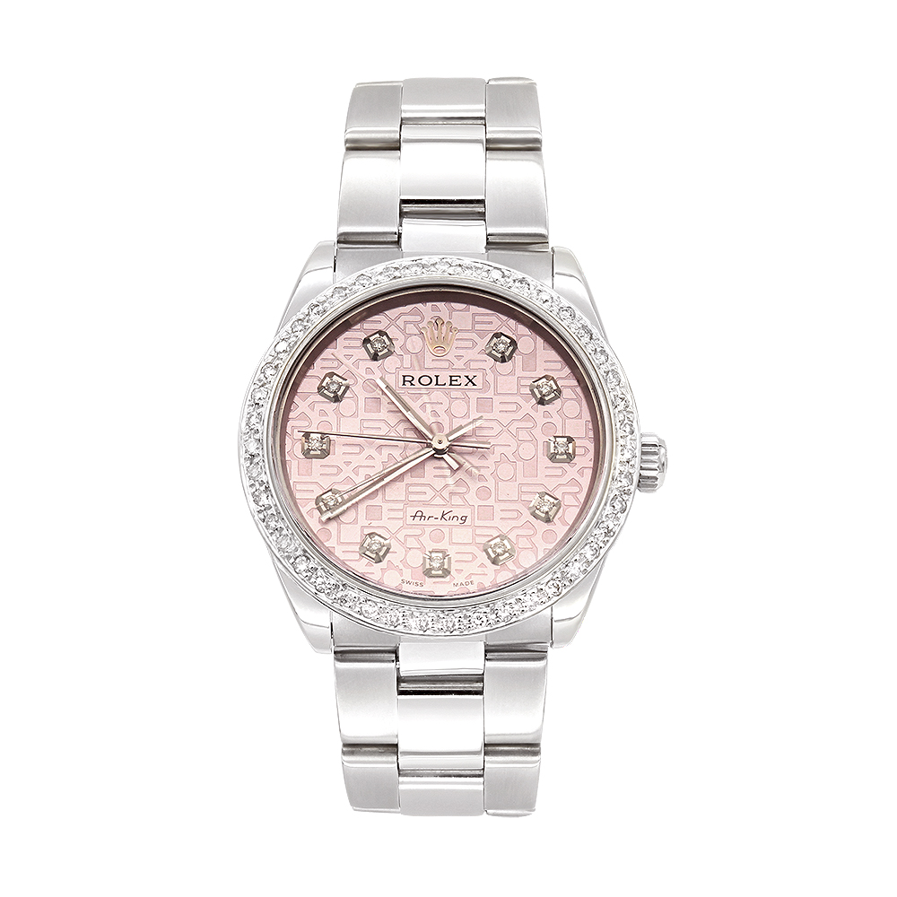 Air King Rolex Diamond Watch for Women 2ct Pink Dial Main Image