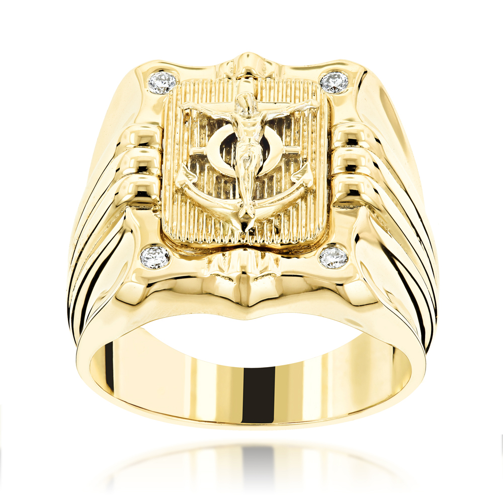 Anchor Nautical Jewelry 14K Gold Mens Diamond Ring 0.10 Yellow Image