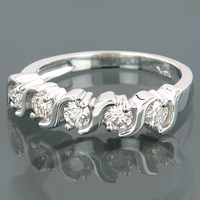 Thin Anniversary 14K Gold 5 Stone Diamond Ring 0.50ct Main Image
