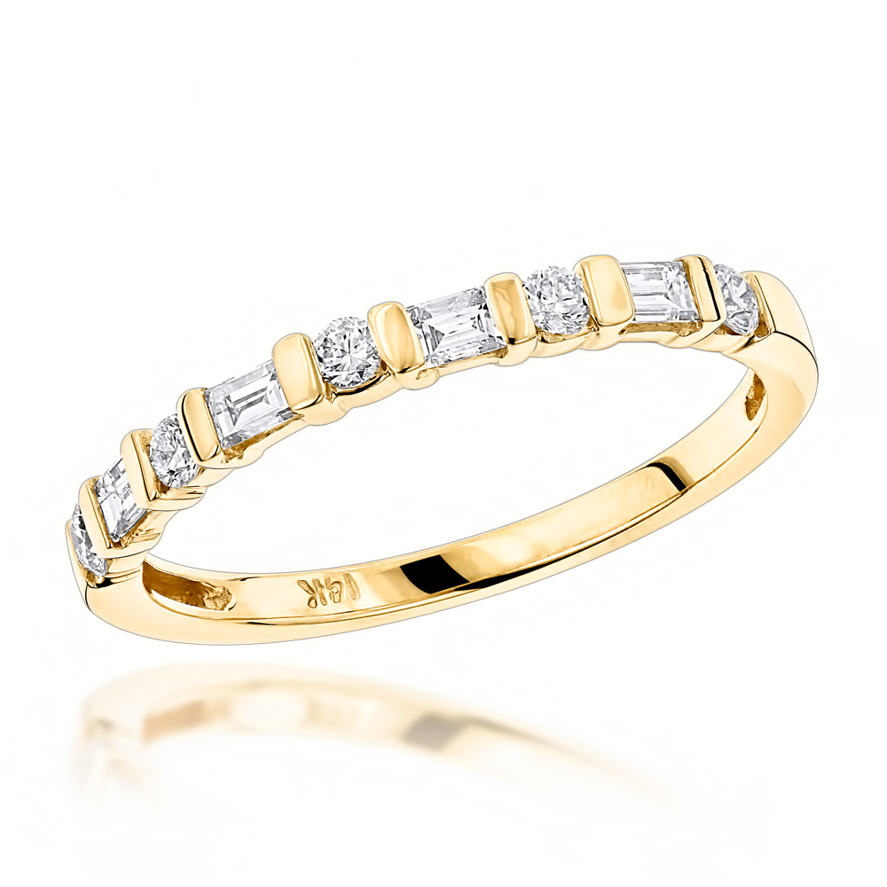 Anniversary Rings 14K Gold Baguette Round Diamond Womens Wedding Band 0.4ct Yellow Image