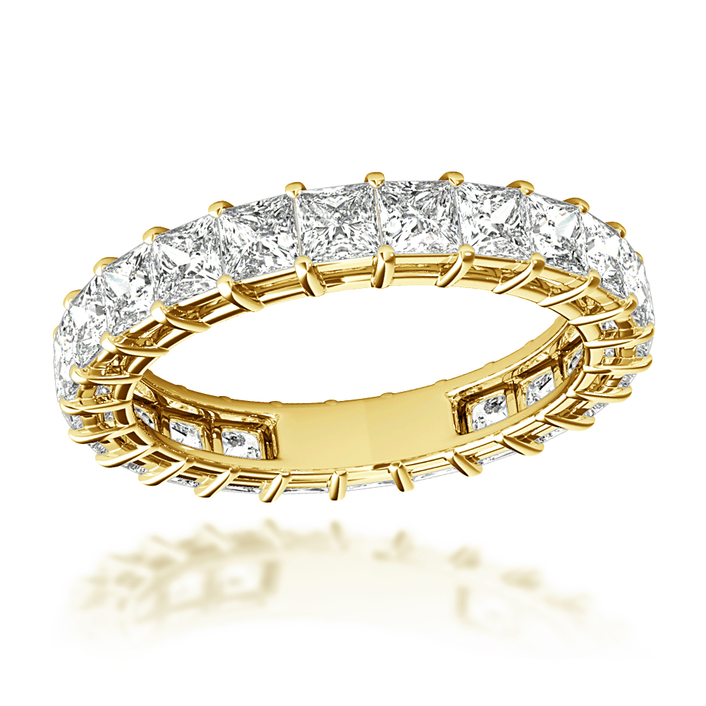 Anniversary Rings 18K Gold Princess Cut Diamond Eternity Band 3ct G/VS Yellow Image