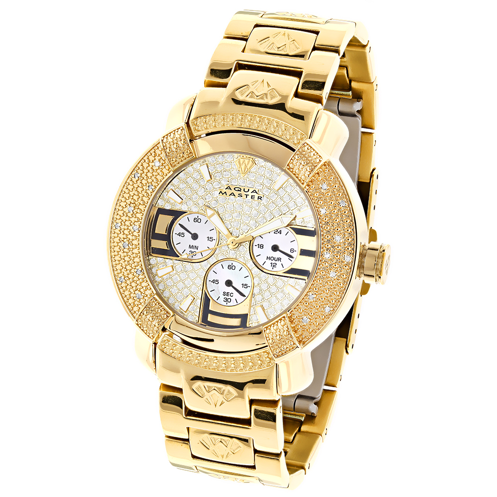 Aqua Master Watches: Mens Diamond Watch Yellow Gold Plated Main Image