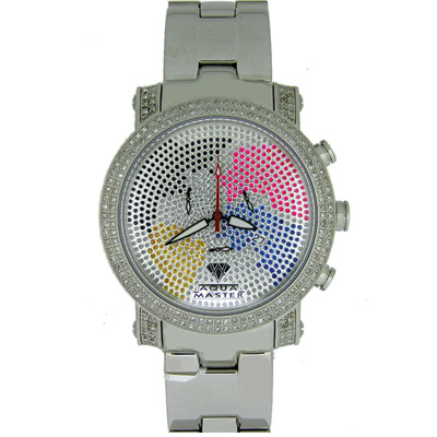 Aqua Master Watches Worldface Mens Diamond Watch 2.25
