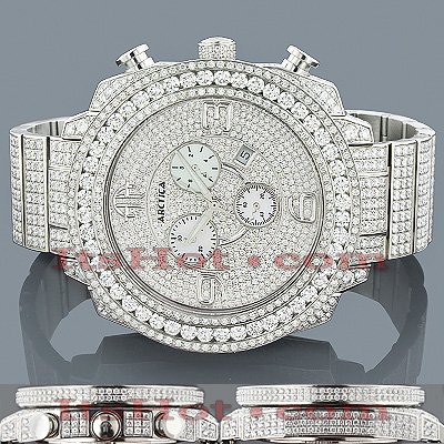 Arctica Watches: Iced Out Mens Diamond Watch 33.95ct