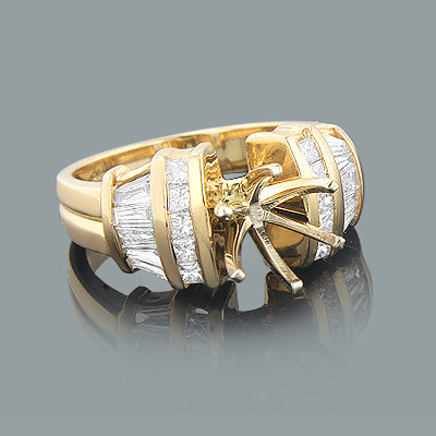 Baguette Diamond Engagement Ring Setting 1.03ct 14K Gold Main Image