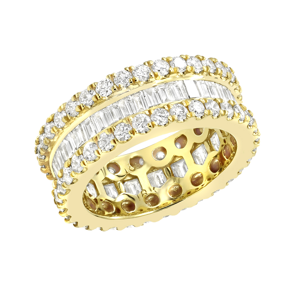 Baguette Round Diamond Eternity Band 2.73ct Yellow Image