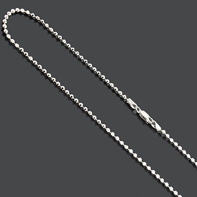 "Bead Chain Dog Tag Necklace 3mm 36"" Diamond Cut Sterling Silver"