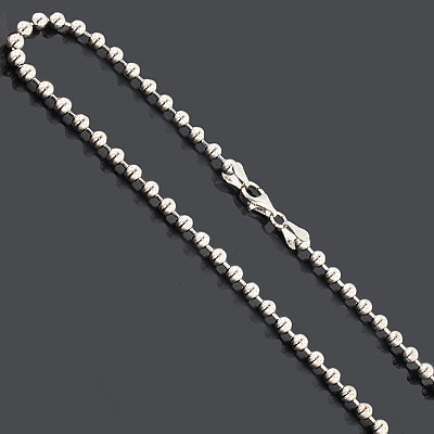 "Bead Chain Dog Tag Necklace 4mm 22"" Sterling Silver Main Image"