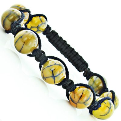 Beaded Bracelets: Yellow Dragon Eye Agate Bead Bracelet Main Image