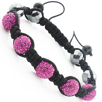 Beaded Pink Disco Ball Bracelet with Rhinestones Main Image