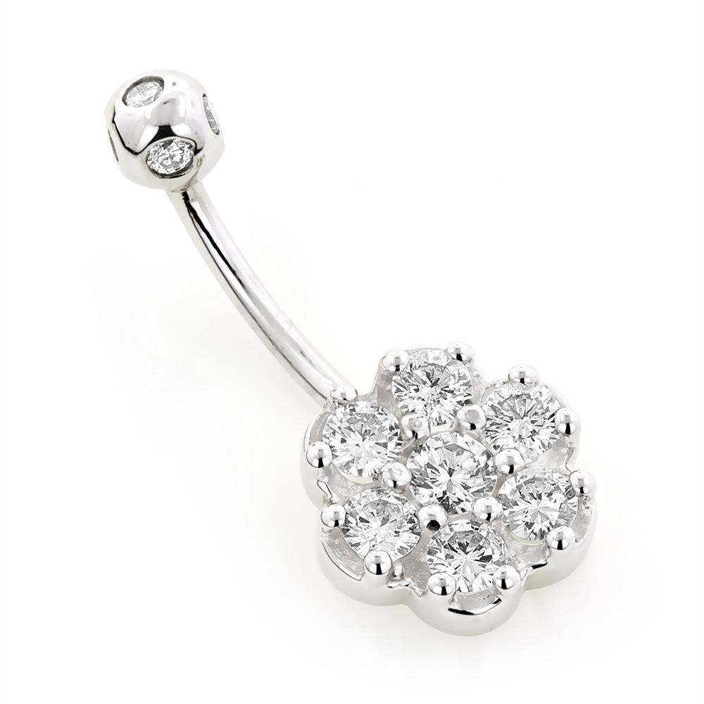 Belly Button Rings Gold Diamond Belly Ring Flower 0.79 White Image